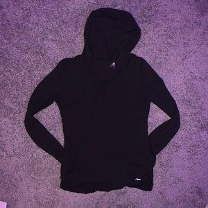 Black hooded long sleeve top
